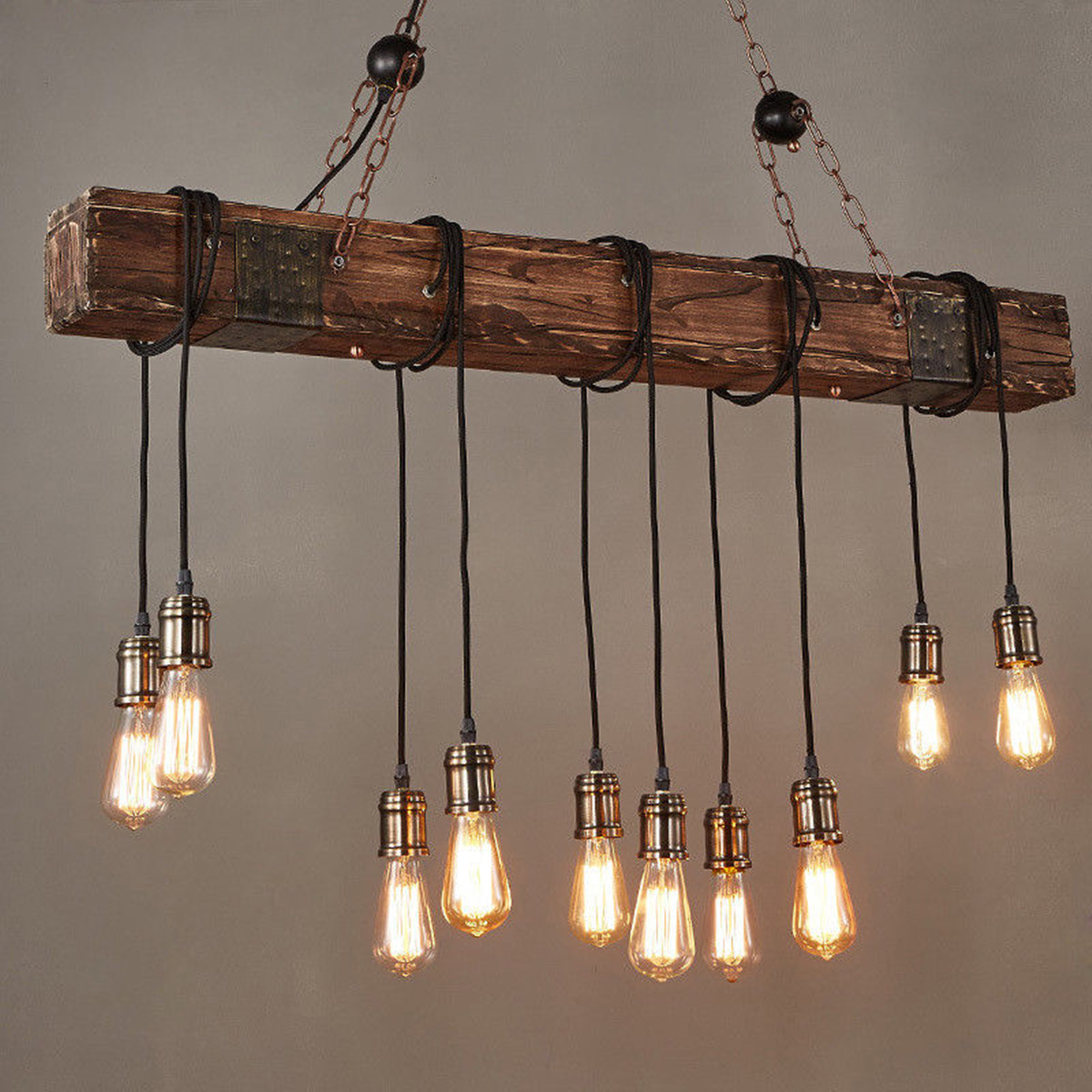 Hanging Antique Farmhouse Wood Beam Island With 10 Edison Bulb Home Kitchen Restaurant Decorations