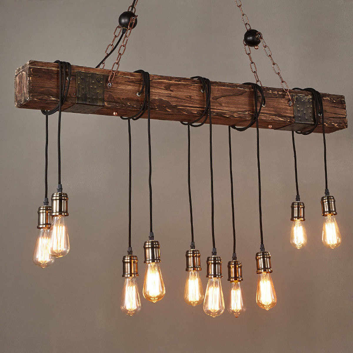 Île suspendue Antique de poutre en bois de ferme avec 10 décorations de Restaurant de cuisine à la maison d'ampoule d'edison