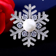 Fashion Christmas Snowflake Brooch AAA Zircon Brooches for Women Men Pins Wedding Dress Coat Accessories Jewelry Gifts(China)