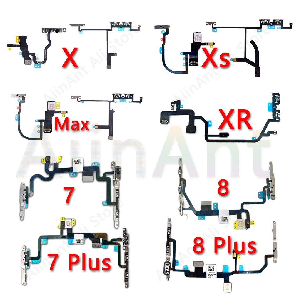 New High Quality Power Flex For IPhone X Xs Max XR 6 6s 7 8 Plus Mute Button Volume Power Flex Cable With Metal Repair Parts