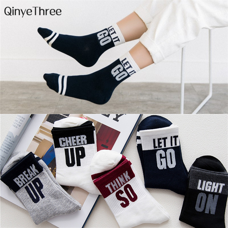Fashion Women's Funny Word Stripes Cute College Wind Cotton Socks Soft Summer Spring Hipster Socks Lovers' Gift