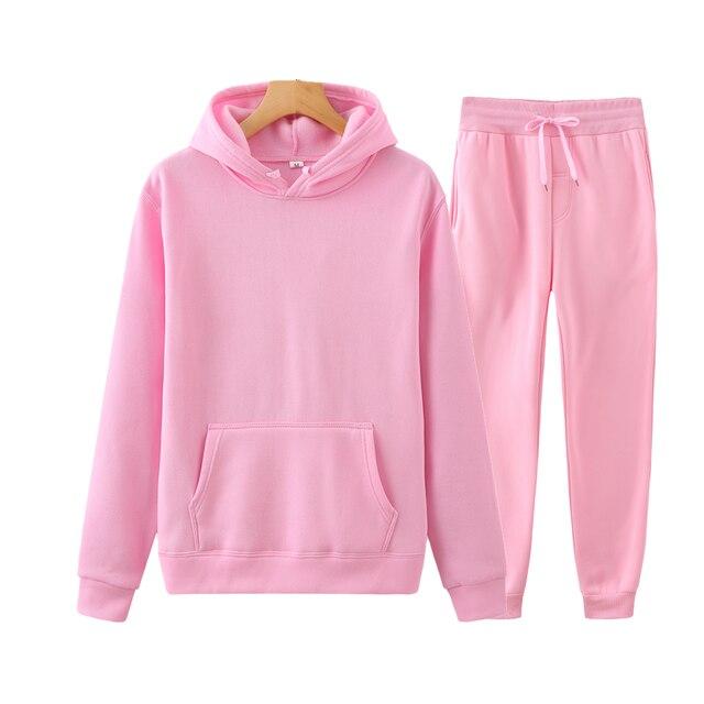 Ladies Suit Hoodie + Pants Fall/Winter Hooded Sweatshirt Sweatpants Fashion Slender Ladies Suit Hoodie Pants Pullover Hoodie