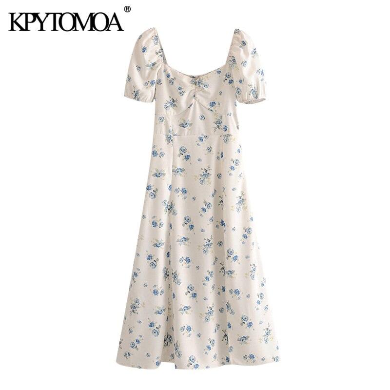 KPYTOMOA Women 2020 Chic Fashion Floral Print Slit Midi Dress Vintage Puff Sleeves With Lining Female Dresses Vestidos Mujer