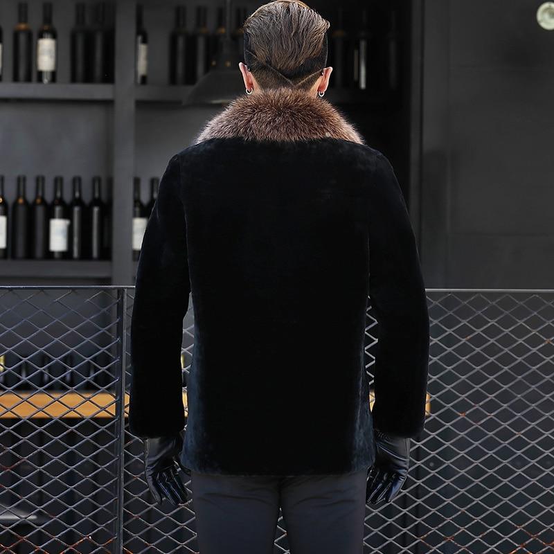 Men Real Pure Natural Fur Coat Mens Real Raccoon Fur Collar Jackets Luxury Sheep Shearling Fur Coats DXL1642 MY744