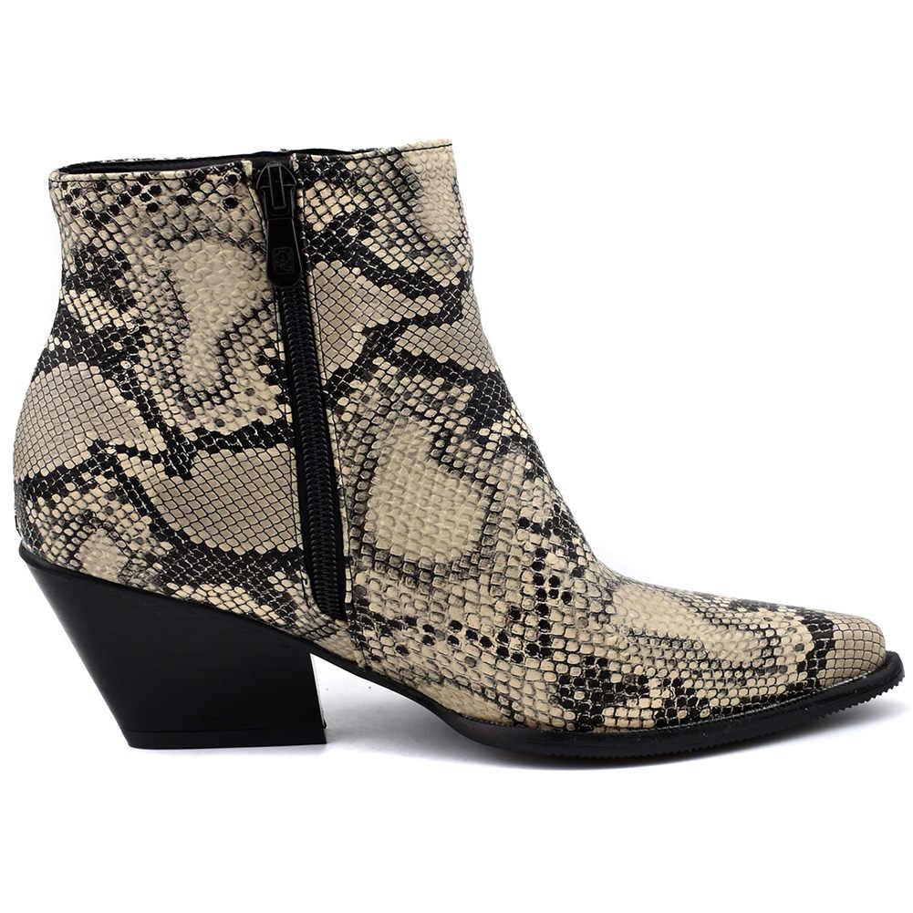 DORATASIA Yeni Batı yarım çizmeler Kadın Yılan Baskı Sivri Burun Çizmeler Bayanlar Tıknaz Topuklu Çizmeler Ayakkabı Kadın Artı Boyutu 34- 48