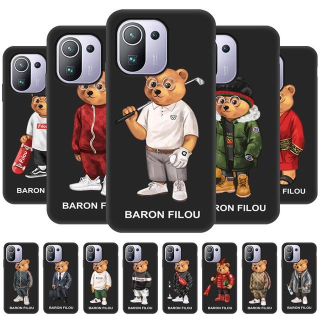 البارون Filou سيليكون حالة ل Xiaomi مي 9T الموالية اللعب A1 A2 لايت 8 SE 9 استكشاف مزيج 2S 3 Fundas كوكه القرش الأسود الحلو الهاتف غطاء