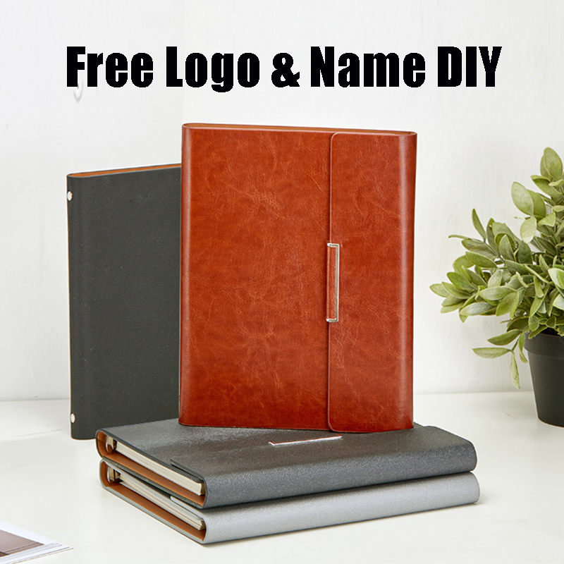 Free Logo Name Customized A5 Notebook PU Leather Loose Leaf Diary Spiral Memo Pad Rings Planner Office Supplies Leader Gift