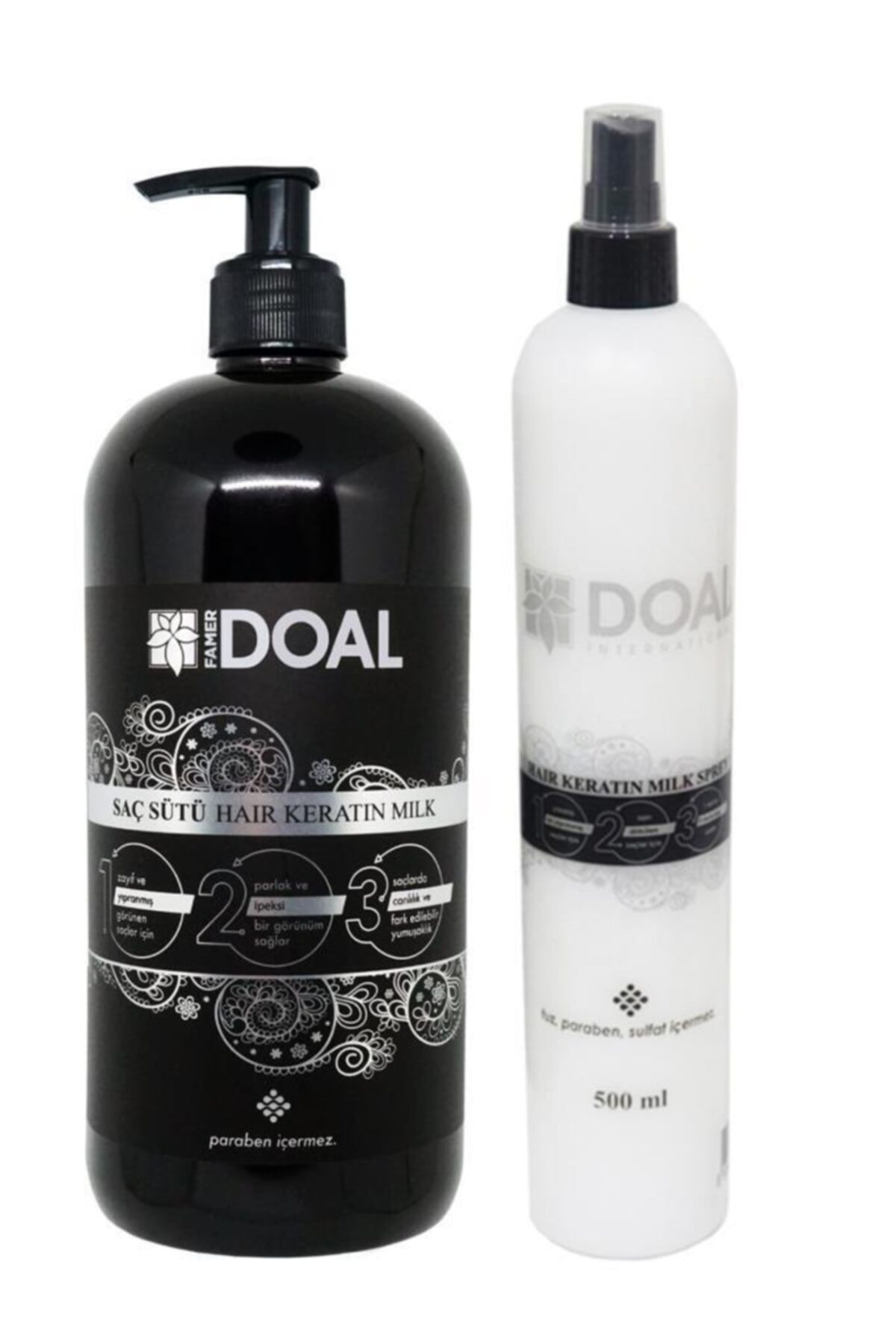 Keratin Treatment Milk Hair Care 1000 ML + Keratin Milk Spray 500 ML DOAL Damaged And Weak Hair   Bright And Smooth Repair