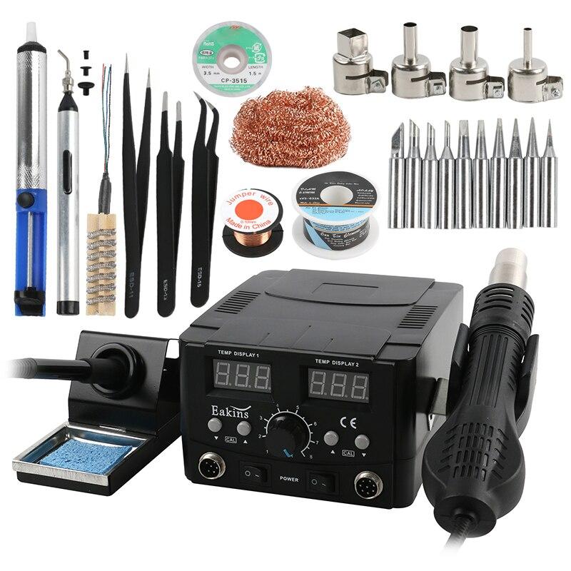 2 в 1 8586D светодиодная цифровая паяльная станция горячего воздуха, паяльная станция, Электрический паяльник для телефона PCB IC SMD BGA сварка