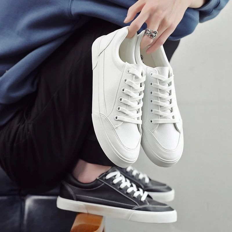 Boys Leather Sneakers Men White/black Sneakers Lace Up Flat Classic Shoes Man's Unisex Sneakers