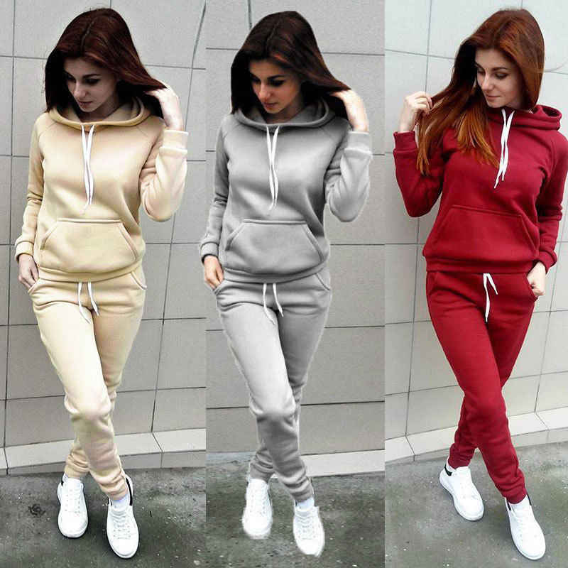 2019 Autumn New Women Sportwear Plus Velvet Tracksuit Women Casual Large Size Hooded Set Fitness Training Sport Suits