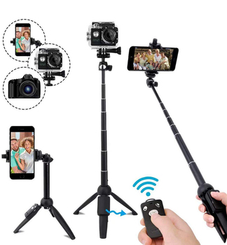 Wireless Bluetooth Selfie Stick Tripod Extendable Phone Tripod Selfie Stick with Remote for Smartphone DSLR SLR Gopro Camera
