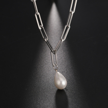 Skyrim New Baroque Pearl Pendant Choker Necklace for Women Girls Stainless Steel Paper Clip Chain Necklaces Jewelry Gift Female