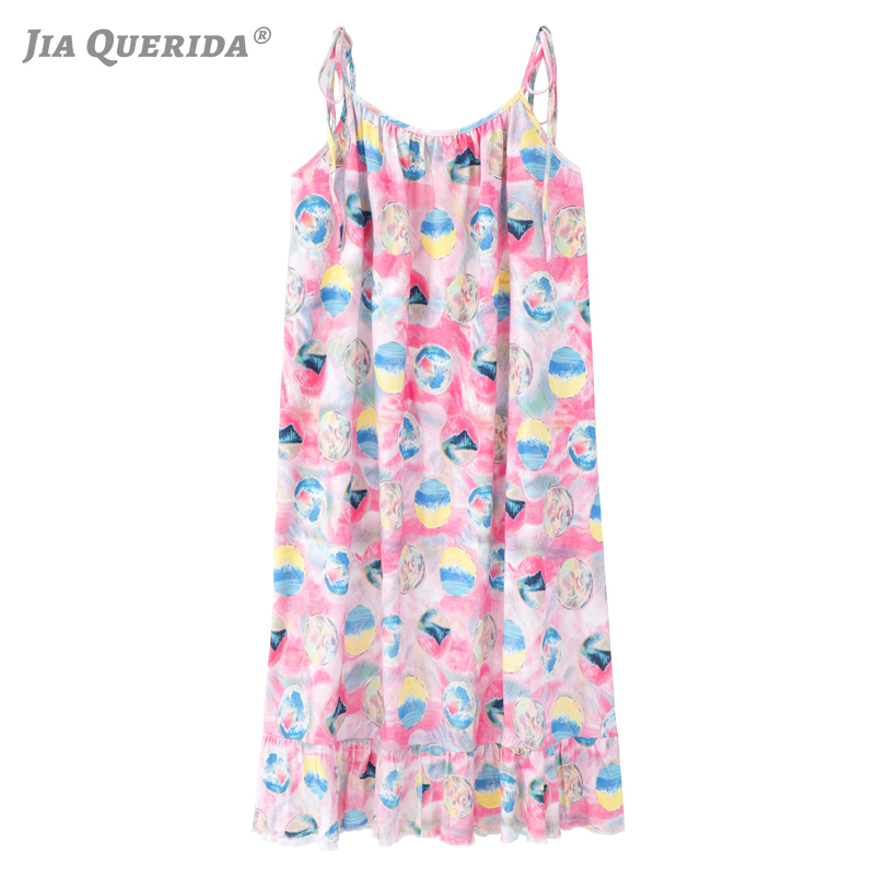 Night Dress Young Ladies Kawaii Pink Lingerie Mini Dress Sleeveless Tied Shoulder Straps Abstract Painting Style Plus Size Dress