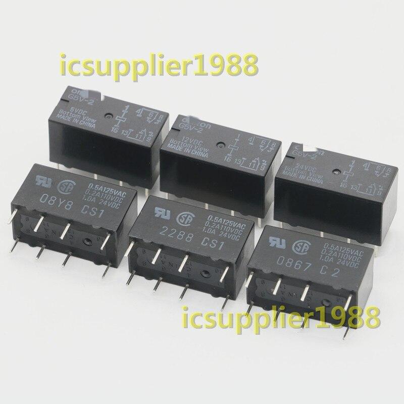10Pcs G5V-2 DC 5V/12V/24V 8Pin DPDT PCB Mount Low-cost Signal DIP8 G5V-2-5VDC G5V-2-12VDC G5V-2-24VDC