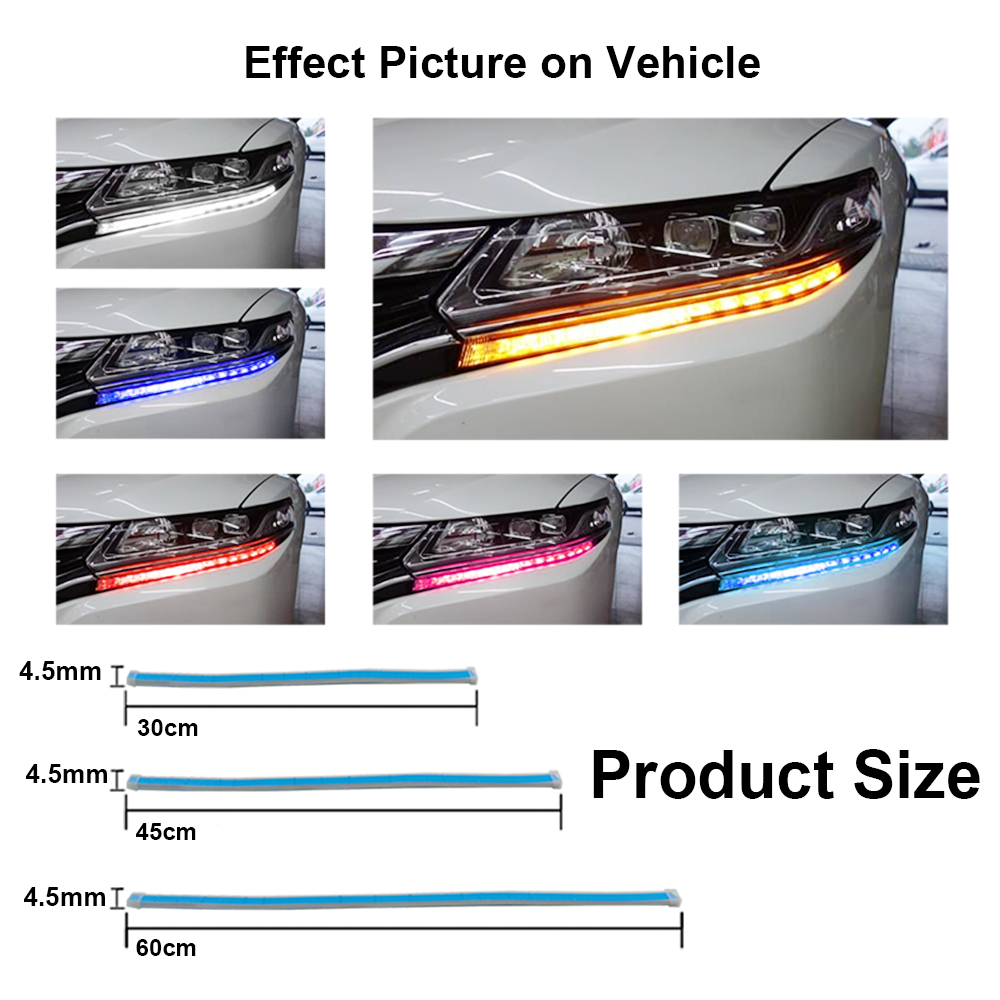 Image 4 - 2Pcs Car Styling LED Running Lights Accessories Light Auto Flowing Turn Signal Light Guide Strip Headlight Assembly Flash Lights-in Car Headlight Bulbs(LED) from Automobiles & Motorcycles