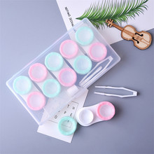 6 Pairs Contact Lens Case Eye Contact Lens Box Women Travel Contact Lenses Case Leakproof Container Lenses Box For Display Box cheap Unisex CN(Origin) ROUND AUS417109 Solid 1set white balck green pink