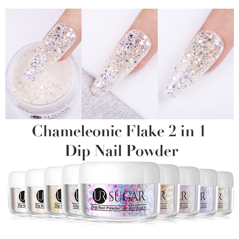 UR SUGAR 5/30ML Chameleon Dips Powders No Lamp Cure  Glitter Gradient  Dry Nail Art