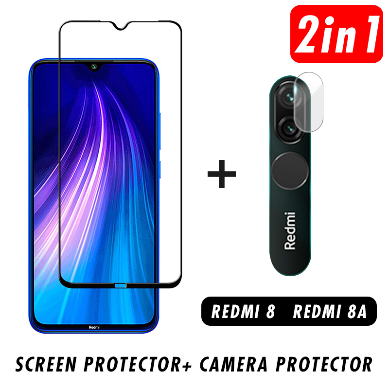 2 In 1 9D Phone Screen Protector For Redmi 8A Lens Protective Glass Camera Tempered Glass For Xiaomi Redmi 8
