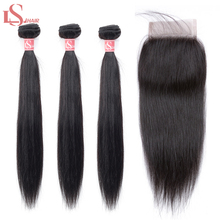 LS Hair Peruvian Straight Hair 3 Bundles With lace Closure Double Weft Remy Human Hair Bundles human hair extensions 8-26 ls heatherly the last human spring