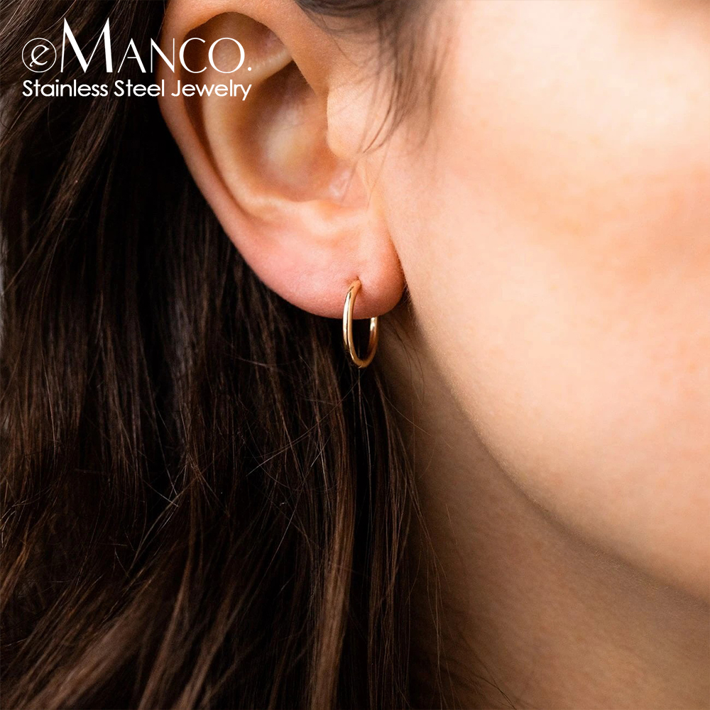 eManco 8/10/14 MM Stainless Steel Ear Buckle for Women Simple Classic Small Steel Earrings Stud Thin Hoops Earrings Jewelry Gift