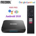 MECOOL KM9 Pro Сертифицированный Google Android TV Android 9,0 4 ГБ 32 ГБ Amlogic S905X2 KM3 ATV 4 Гб 64 Гб 4K двойной Wi-Fi Смарт ТВ-бокс