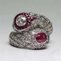 FDLK Antique Art Deco Alloy Wedding Jewelry Red & White Crystal Ring Size 5 6 7 8 9 10 11 12