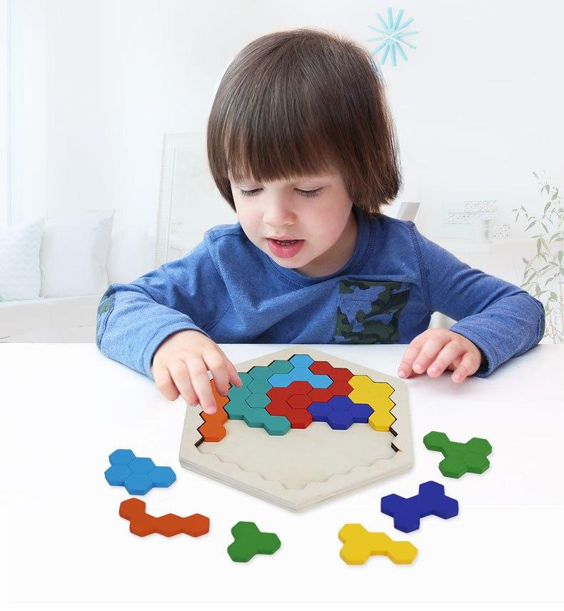 3D Деревянные Пазлы настольные Игрушки Tangram Детские геометрические головоломки игрушки развивающая детская игрушка, подарок ZXH 4