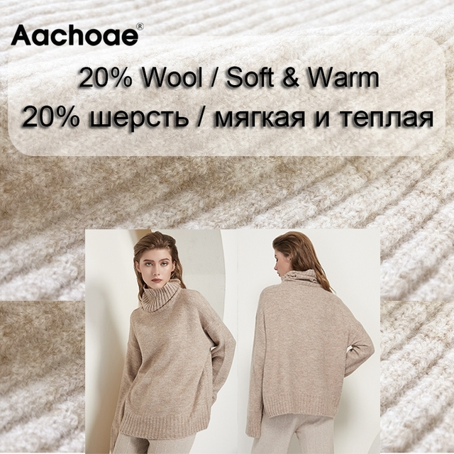 Aachoae Autumn Winter Women Knitted Turtleneck Cashmere Sweater 2020 Casual Basic Pullover Jumper Batwing Long Sleeve Loose Tops 2