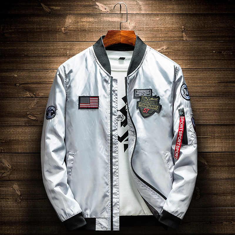 2019 가을 남성 군용 폭격기 재킷 남성 캐주얼 지퍼 파일럿 재킷 새로운 얇은 스탠드 칼라 남성 코트 판매 중