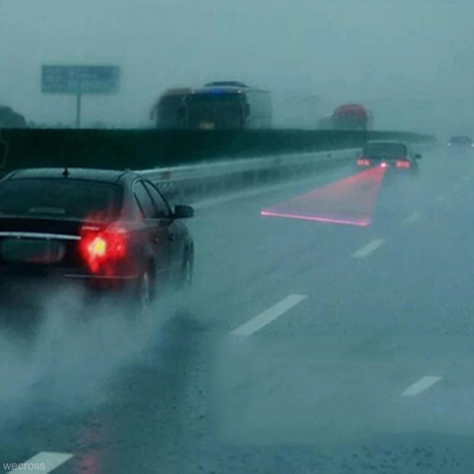 Car LED Laser Fog Light Vehicle Anti-Collision Tail-light Brake Warning Lamp Roadway Safety Traffic Light 2