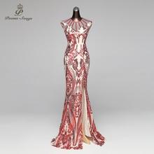 Gedichte Songs Meerjungfrau Abendkleid prom kleider Formale Party kleid vestido de festa Vintage Red Slit Luxus Pailletten robe longue
