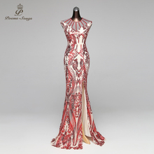 Poems Songs Mermaid Evening Dress prom gowns Formal Party dress vestido de festa Vintage Red Slit Luxury Sequin robe longue