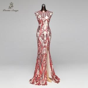Image 1 - Poems Songs Mermaid Evening Dress prom gowns Formal Party dress vestido de festa Vintage Red Slit Luxury Sequin robe longue