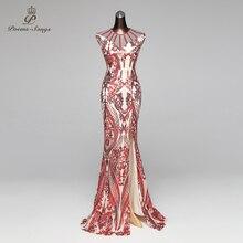 詩曲マーメイドイブニングドレスウエディングドレスフォーマルパーティードレス vestido デ · フェスタヴィンテージ赤スリット高級スパンコールローブは longue