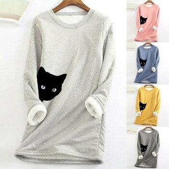 2020 Winter Women Thick Fleece Sweatshirt Velvet Warm Cat Print O-neck Underwear Blouse Tops S-5XL толстовка женская 1