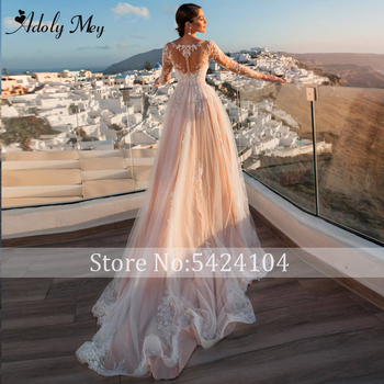 Adoly Mey Gorgeous Appliques Detachable Train Mermaid Wedding Dress 2020 Scoop Neck Beaded Sashes Long Sleeve Vintage Bride Gown