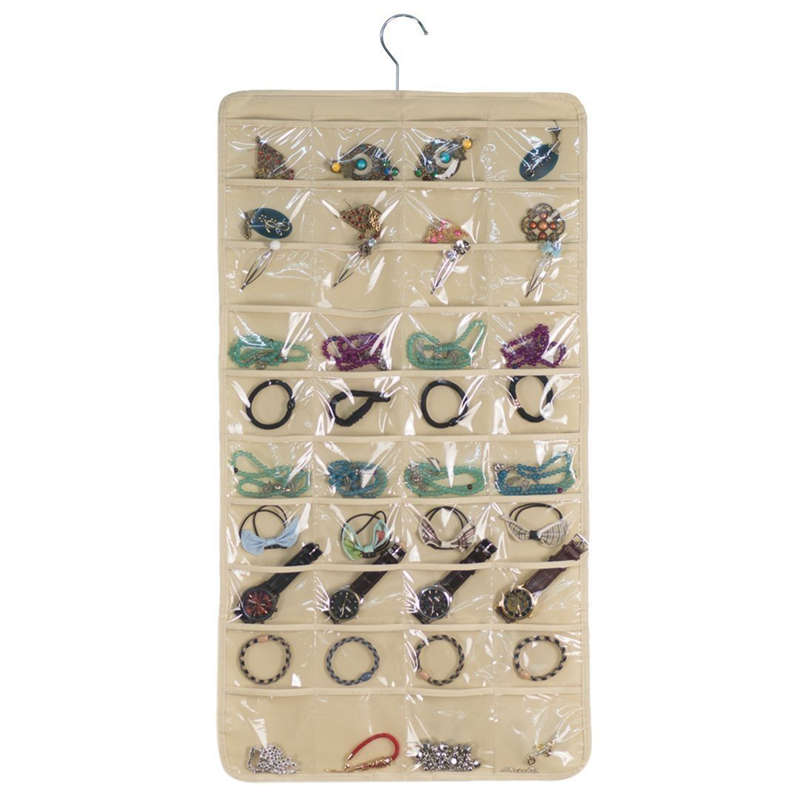 Hanging Jewelry Organizers 80 Pockets Non-Woven Dual Sides Wall Hanging Closet Accessory Jewelry Holder Organizer Folding Travel