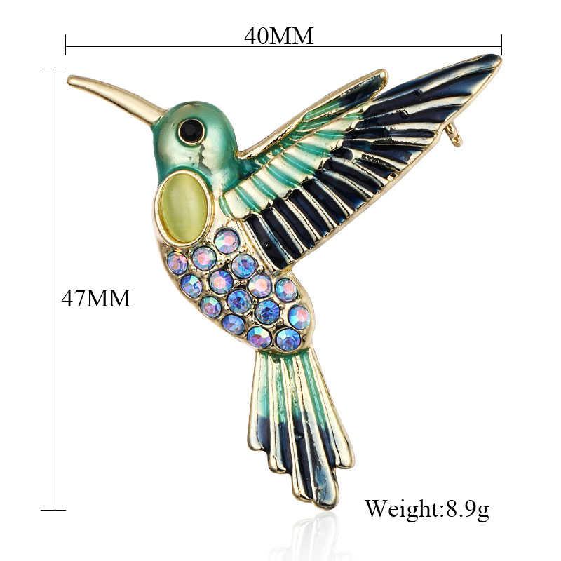 Maikale Enamel Burung Bros Pin Kristal Berlian Imitasi Bros untuk Wanita Wanita Korsase Setelan Baju Anak-anak Tas Aksesoris Brocade Hadiah