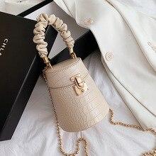 Chain Purses Bucket-Shoulder-Bag Crossbody-Bag Designer Beading Pleated-Handle Mini Korean