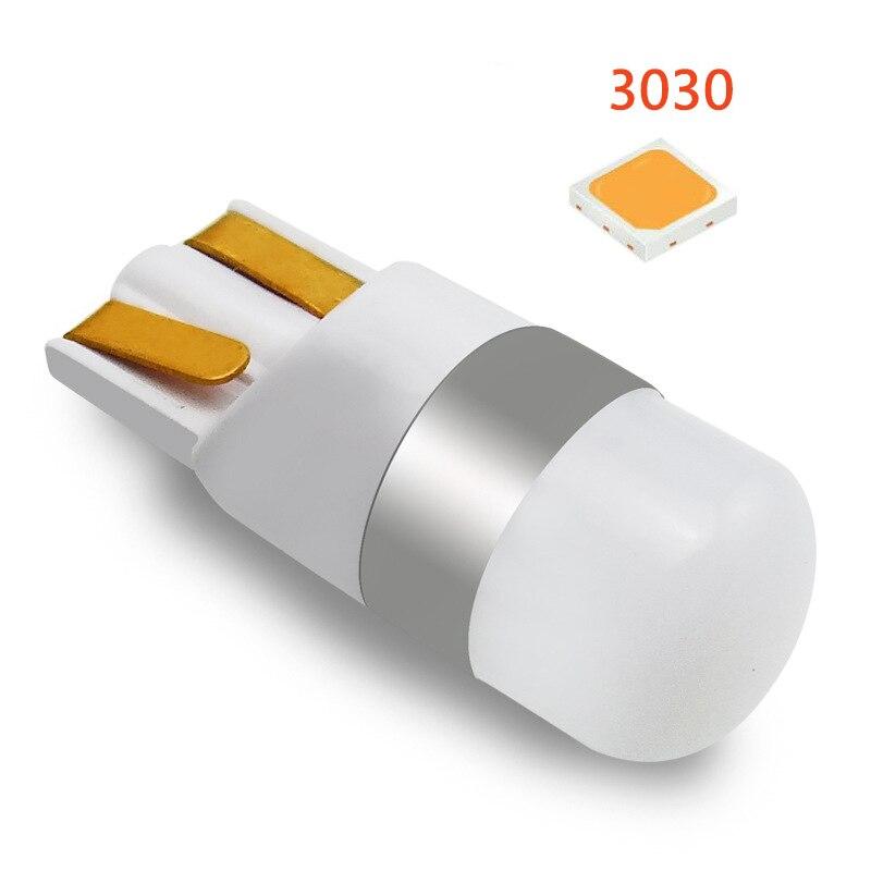 1 pçs 3030 smd 350lm t10 w5w led luzes de folga do carro lâmpada leitura veículo automático cúpula porta acessórios branco puro 6000 k