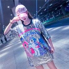 Черная Повседневная футболка с круглым вырезом с единорогом и блестками; топы для девочек; коллекция года; сезон весна; корейская мода; футболки с короткими рукавами для девочек