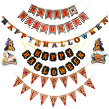 Halloween Banner Pumpkin Decorative Nonwoven Party Hanging Garland Bunting Supplies