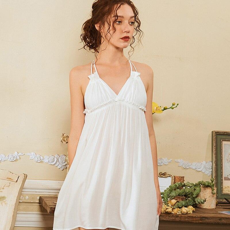 2020 Summer Cute Princess Sleeveless Night Dress Crepe Sling Nightdress Summer Sexy Thin Sleepwear Women Sleepshirts Solid Dress