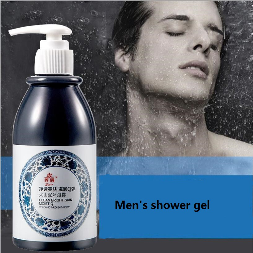 250ml Men Volcanic Mud Shower Gel Whole Body Wash Fast Whitening Deep Clean Skin Moisturizing Exfoliating Body Care