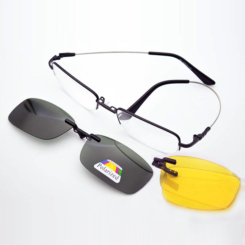 Gafas de memoria Marco plegable Imán Clip Miopía Plata Gafas de sol polarizadas Hombres Espejo Oro Gafas de visión nocturna Templo suave