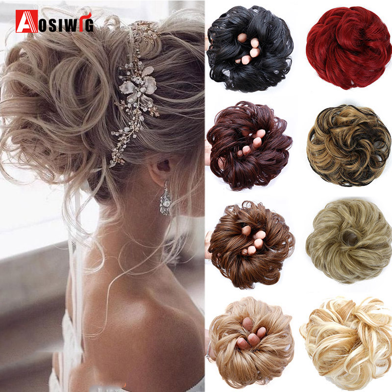 AOSIWIG  Elastic Extensions Hair Elastic Band Updo Hairpieces Donut For Brides Women Synthetic Hair Chignons