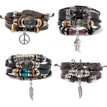 Eif dock boho pulseira vintage várias camadas pulseira de couro corda corrente wrap pulseira conjunto encantos coruja pulseiras para jóias masculinas