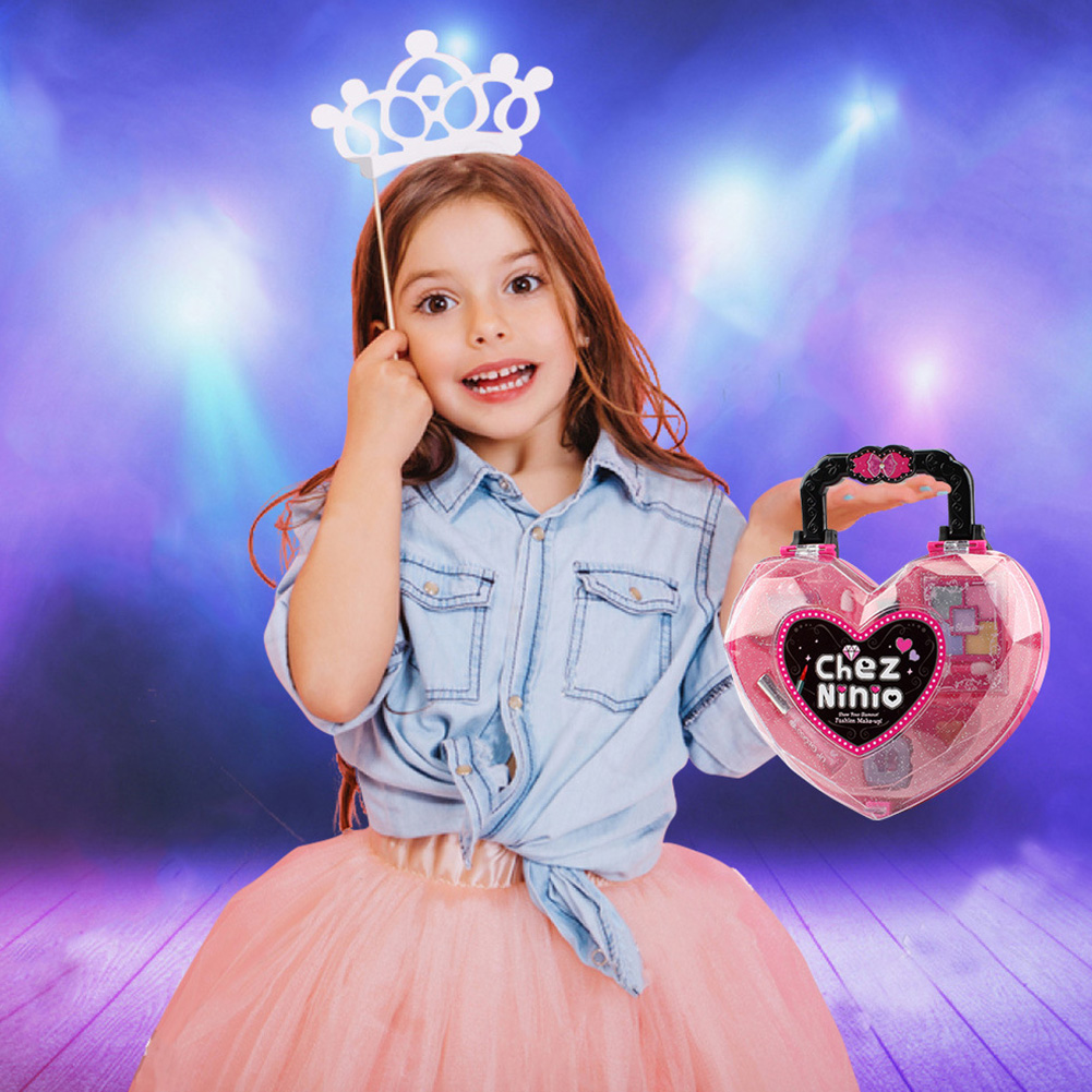 Safety For Kids Gift Eyeshadow Play Non-toxic Cosmetic Toy Heart-shaped Handbag Girls Lipstick Makeup Set Lip Gloss Princess