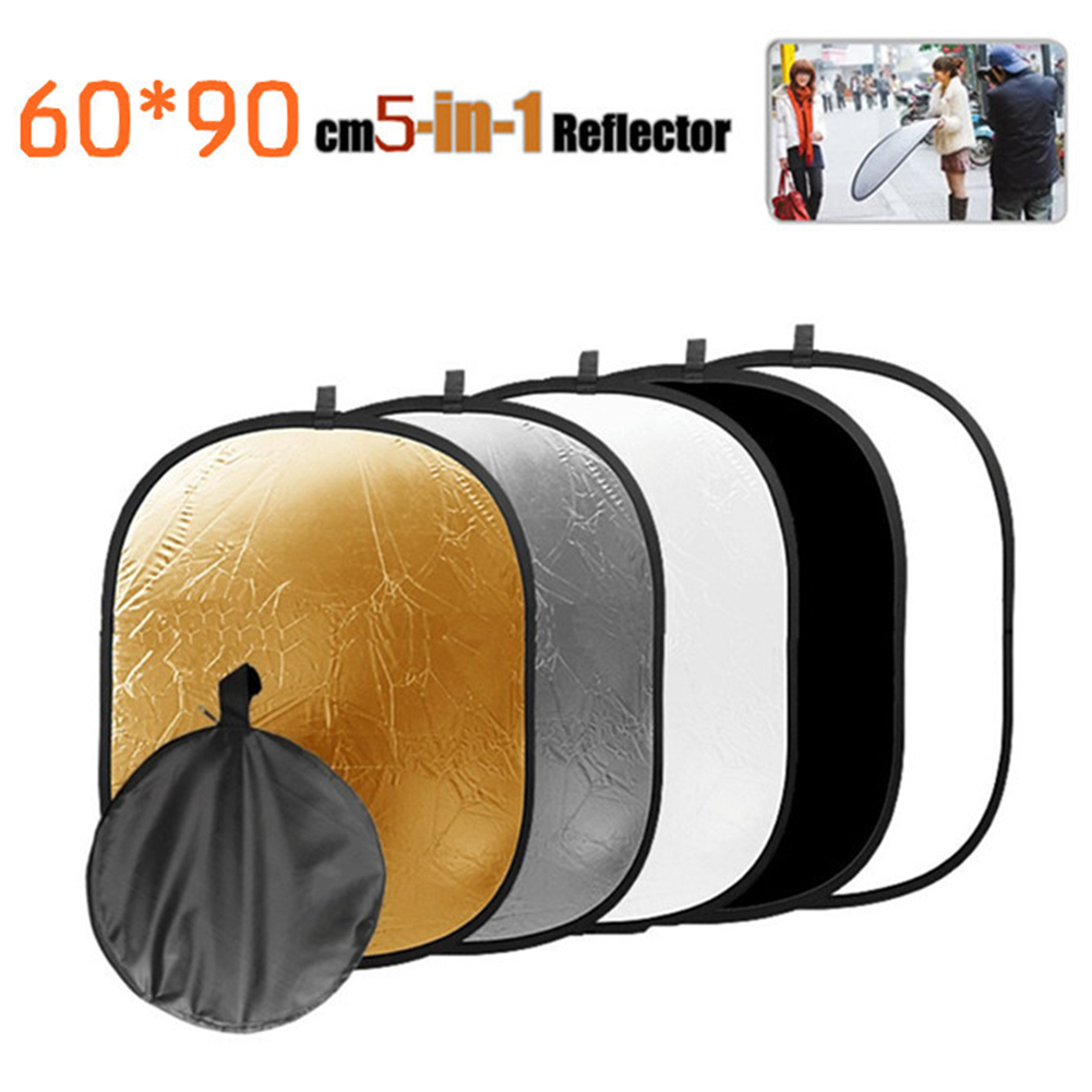 5 In 1 Light Reflector With Storage Bag Diffuser Kit Oval Accessories 5 Color Photography Multi Disc Durable Portable Studio